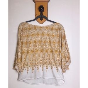 Anthropologie Tops - Anthropologie Deletta Amber Gold Lace Dolman Top S